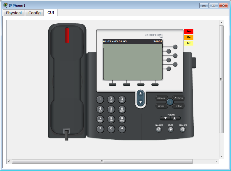 IP Phone 1 configured - Front view