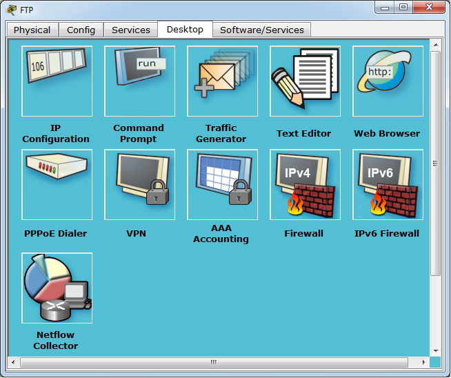 Packet Tracer 6.1.1 netflow software on server device