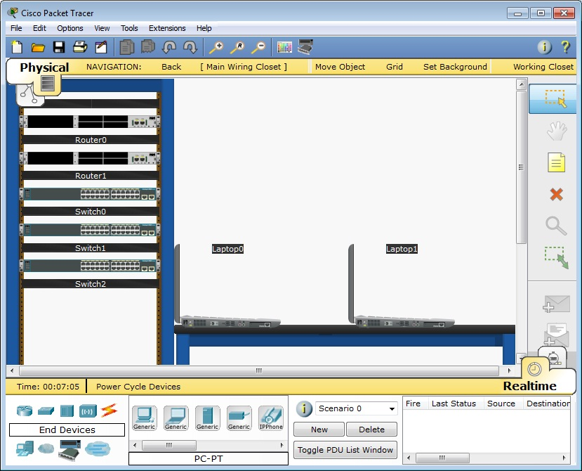 Packet Tracer 5.3 physical workspace