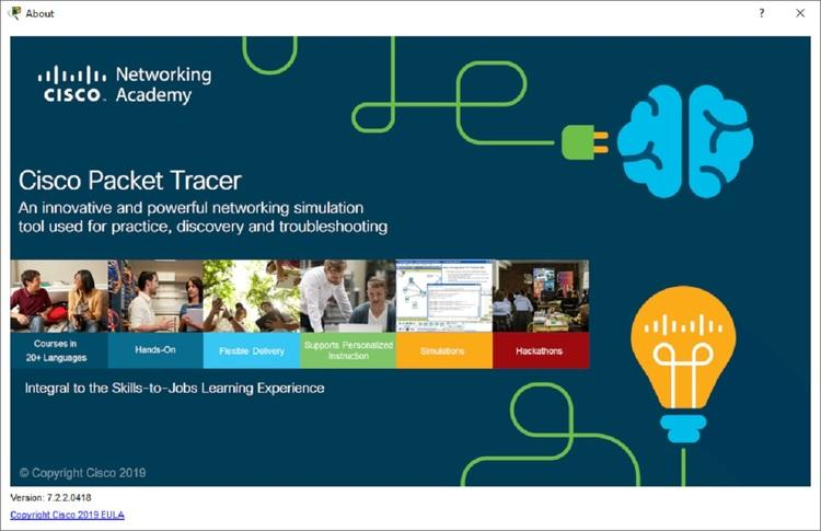 Cisco Packet Tracer 7.2.2 build 418 splash screen