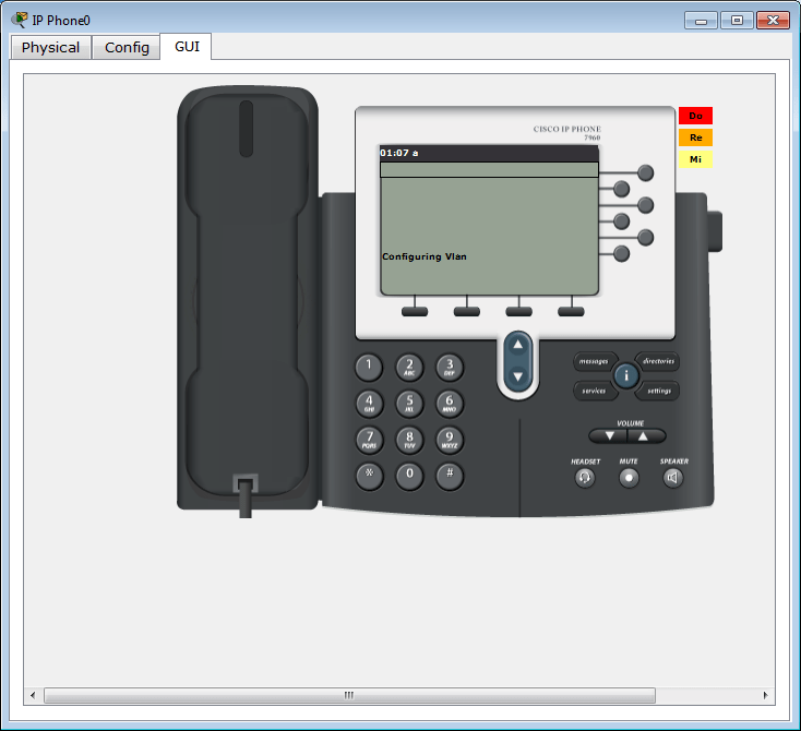 Cisco 7960 emulated IP phone in Packet Tracer - Front view